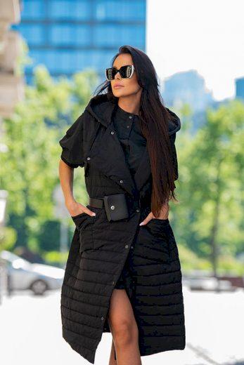 Dlouhá černá dámská prošívaná vesta (JIN219)