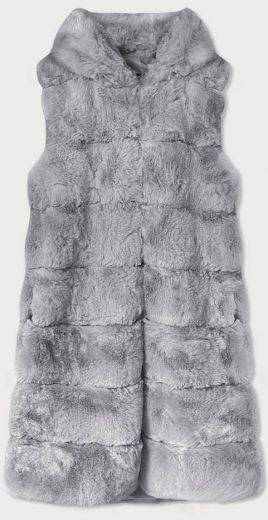 Dlouhá šedá kožešinová vesta s kapucí (BR9740-9)