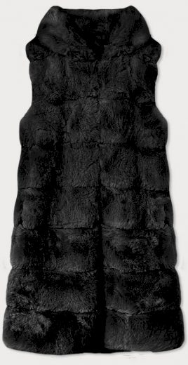 Dlouhá černá kožešinová vesta s kapucí (BR9740-1)