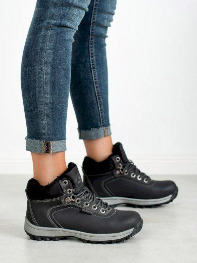 Krásné černé  trekingové boty dámské bez podpatku