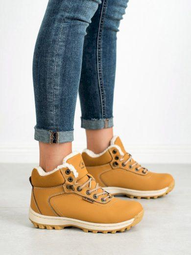 Originální zlaté  trekingové boty dámské bez podpatku
