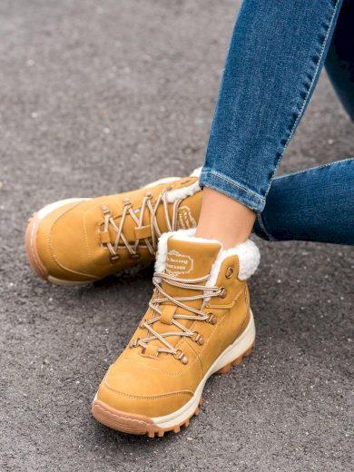 Komfortní  trekingové boty dámské hnědé na plochém podpatku