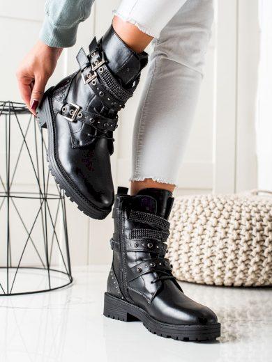 Originální  kotníčkové boty dámské černé na plochém podpatku