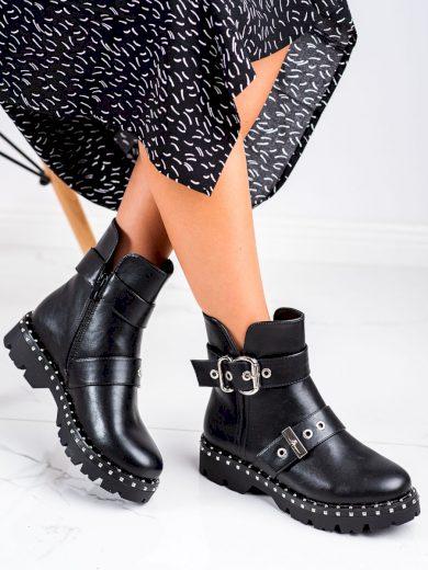 Originální černé dámské  kotníčkové boty na plochém podpatku