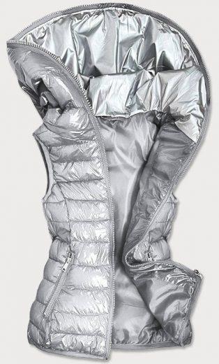 Stříbrná dámská prošívaná lesklá vesta (B9563)