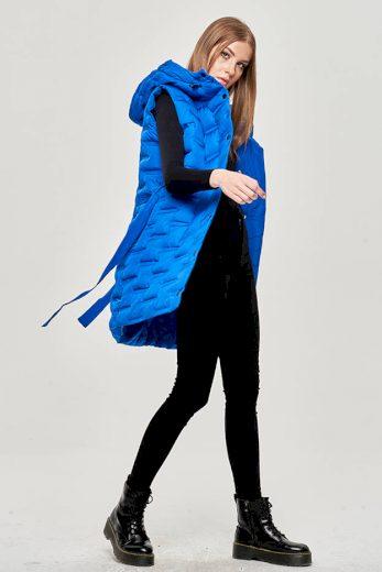 Dlouhá dámská vesta v chrpové barvě s páskem (JIN217)