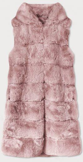 Dlouhá kožešinová vesta v pudrově růžové barvě s kapucí (BR9740-81)