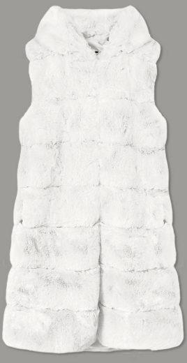 Dlouhá kožešinová vesta v ecru barvě s kapucí (BR9740-26)