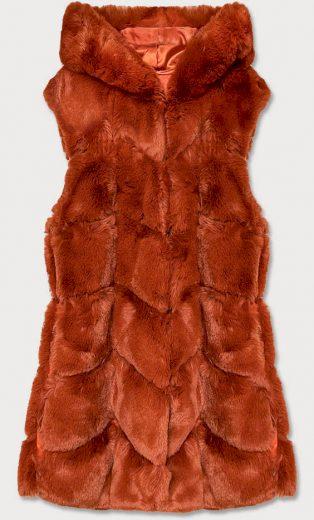 Dlouhá rudá kožešinová vesta s kapucí (39023)