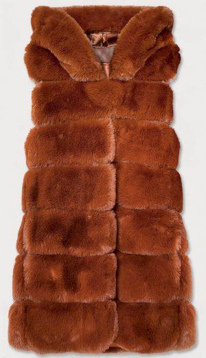 Rudá kožešinová vesta s kapucí (31120)