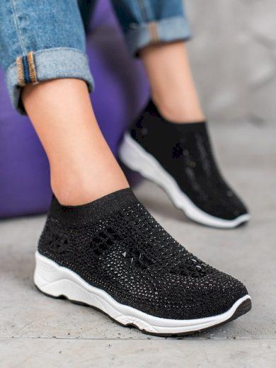 Stylové dámské  tenisky černé bez podpatku