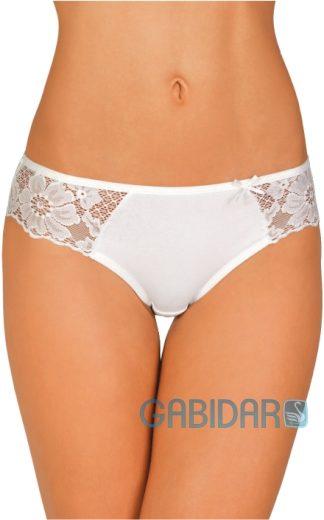 Bokové bavlněné kalhotky s krajkou 30 bílé