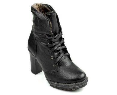 Skvělé černé kotníčkové boty s chundelatým kožíškem