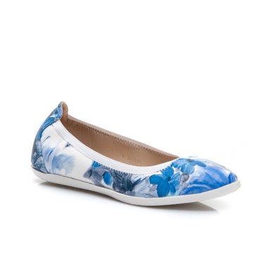 Originální modré dámské baleríny s květy
