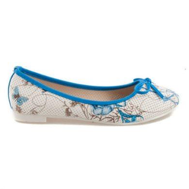 Modré balerínky s květy