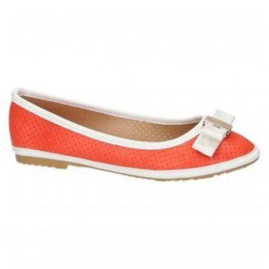 Oranžové baleríny s bílým lemováním
