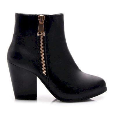Parádní černé kotníčkové dámské boty s módním zipem