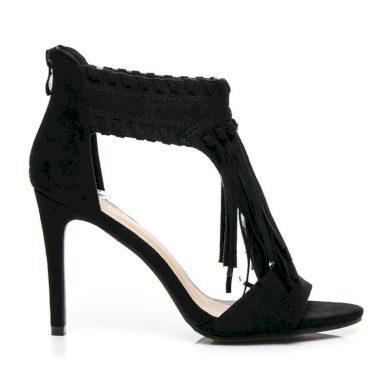 Semišové černé dámské sandály s třásněmi