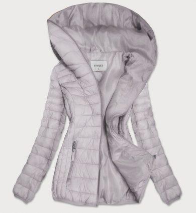 Šedá prošívaná dámská bunda s kapucí (B0101)
