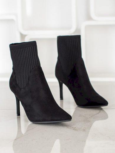 Originální  kotníčkové boty černé dámské na jehlovém podpatku