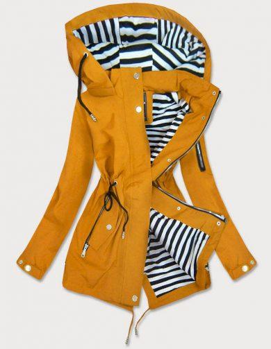 Žlutá dámská bunda s pruhovanou podšívkou (W661BIG)