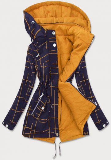 Modro-žlutá dámská oboustranná bunda (W656BIG)