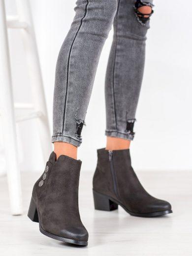 Exkluzívní šedo-stříbrné dámské  kotníčkové boty na širokém podpatku