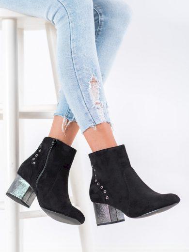 Exkluzívní dámské  kotníčkové boty černé na širokém podpatku