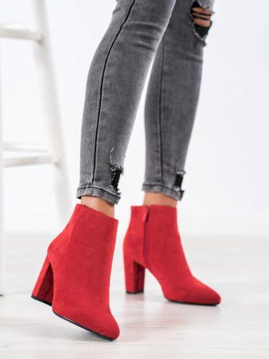 Módní  kotníčkové boty dámské červené na širokém podpatku