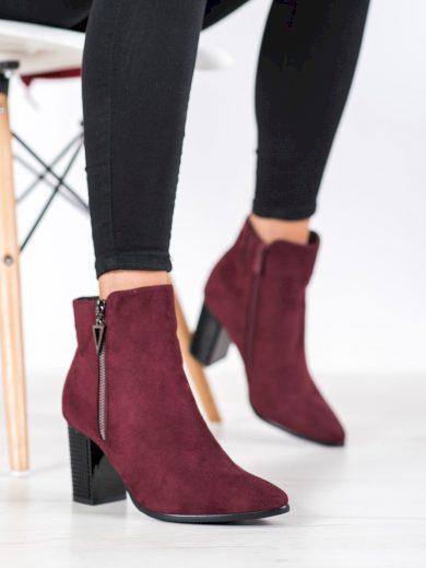 Exkluzívní červené  kotníčkové boty dámské na širokém podpatku