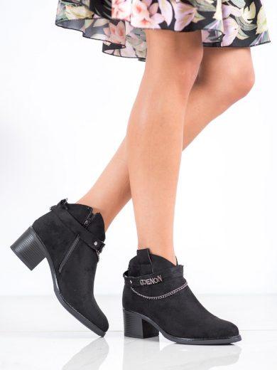 Trendy černé  kotníčkové boty dámské na širokém podpatku