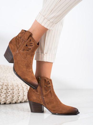 Stylové  kotníčkové boty hnědé dámské na širokém podpatku