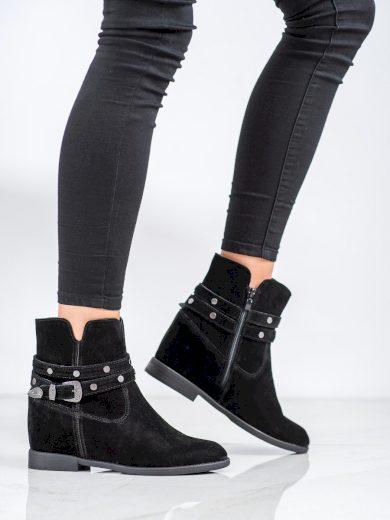 Luxusní dámské černé  kotníčkové boty na klínku