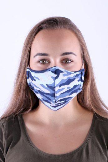 Textilní rouška s nanostříbrem maskáč modrá