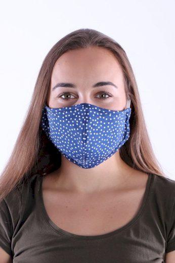 Česká bavlněná rouška s nanostříbrem modrá puntíky