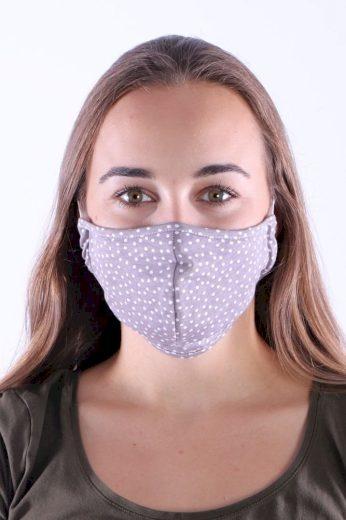 Bavlněná rouška s kapsou na filtr béžová s bílými puntíky