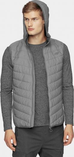 Pánská vesta 4F KUMP303 šedá žíhaná