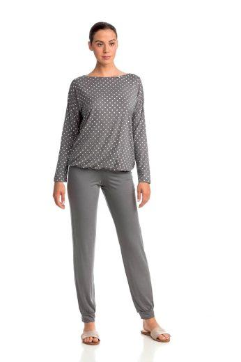 Dámské pyžamo 13903-425 šedá-puntík - Vamp