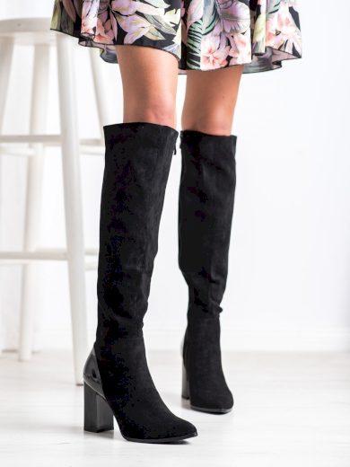 Trendy černé  kozačky dámské na širokém podpatku