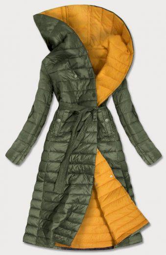 Prošívaný kabát v khaki barvě s kontrastní podšívkou (1118)