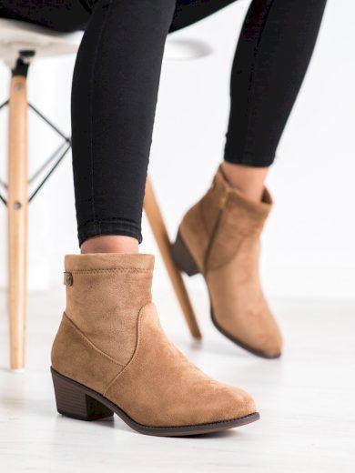 Moderní hnědé  kotníčkové boty dámské na širokém podpatku