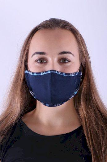 Textilní rouška s nanostříbrem temně modrá s lemem