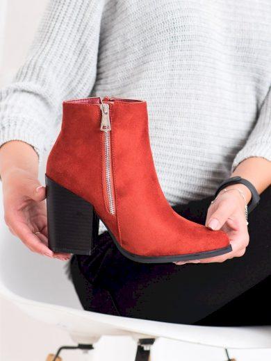 Designové dámské oranžové  kotníčkové boty na širokém podpatku