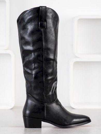Módní dámské černé  kozačky na širokém podpatku