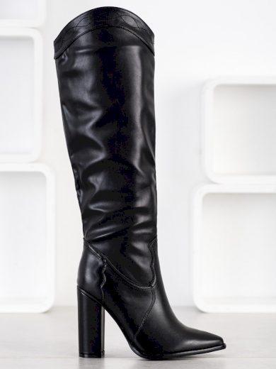 Klasické  kozačky dámské černé na širokém podpatku
