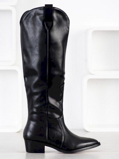 Pěkné černé  kozačky dámské na širokém podpatku