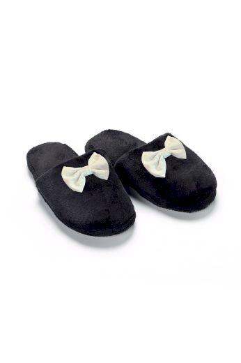 Vamp - Dámské sametové pantofle s mašličkou 13991 - Vamp
