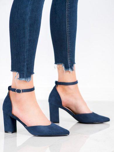 Zajímavé  lodičky dámské modré na širokém podpatku
