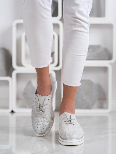 Módní dámské  polobotky šedo-stříbrné bez podpatku