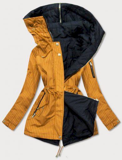 Oboustranná pruhovaná žluto-černá bunda s kapucí (W659)
